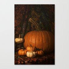Glow on the Pumpkins Autumn Still Life Canvas Print