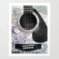 Printed Purple Guitar Art Print