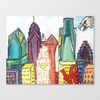 Philadelphia Skyline Wit… Canvas Print