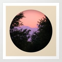 Clouds As Mountains Circular Art Print