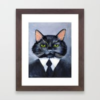 Black Cat in Suit Framed Art Print