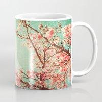 Pink Autumn Leafs on Blue Textured Sky (Vintage Nature Photography) Mug