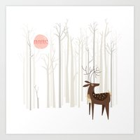 wood Art Prints featuring Reindeer of the Silver Wood by Poppy & Red