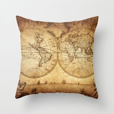 Vintage Map of the World 1733 Throw Pillow