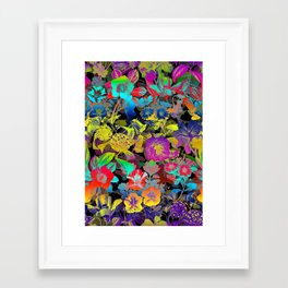Framed Art Print - Lsd Floral Pattern - Burcu Korkmazyurek