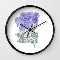 Hydrangea 01 Botanical Flower * Lavender Blue Hydrangea Wall Clock