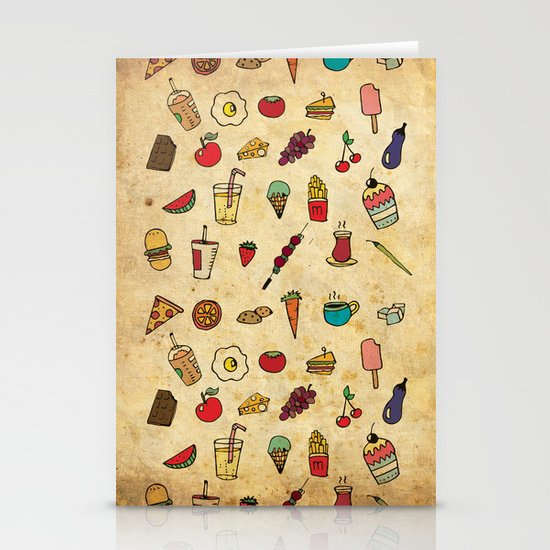 Food Love Pattern Stationery Card