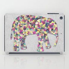 Elephant Collage in Gray Hot Pink Teal and Yellow iPad Case