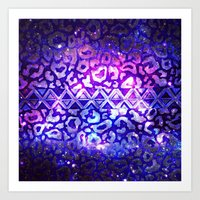 TRIBAL LEOPARD GALAXY An… Art Print