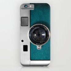 Classic retro Blue Teal Leather silver Germany vintage camera iPhone 4 4s 5 5c, ipod, ipad case iPhone 6 Slim Case