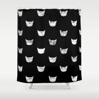White Cat Shower Curtain
