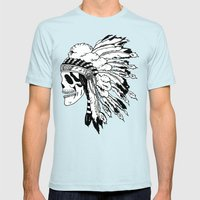 Black and White Native American  Mens Fitted Tee Light Blue SMALL
