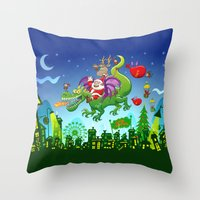Santa changed his reindeer for a dragon Throw Pillow