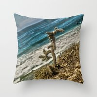 The Lonely Golden Cactus. Throw Pillow