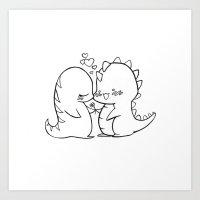 Dino Love Black And Whit… Art Print