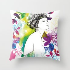 Bella fashion watercolor portrait Throw Pillow