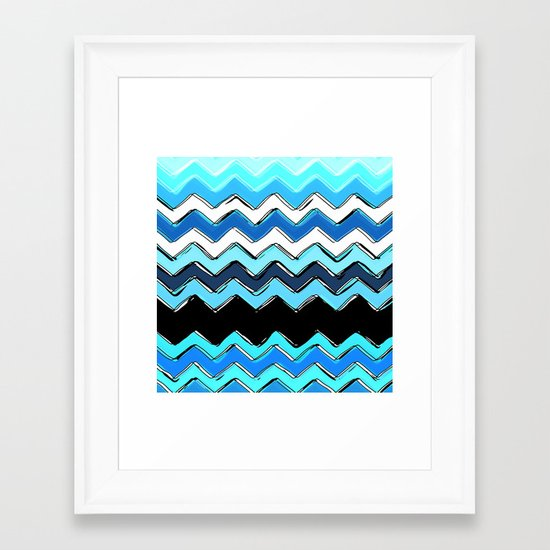 ocean chevron Framed Art Print