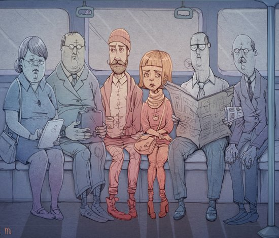 The zombies of everyday commuting Art Print
