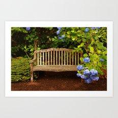 Bench in Blue Art Print
