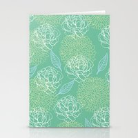 Pastel Peony and Leaf Pattern Design  Stationery Cards