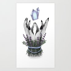 crystal hands colored Art Print