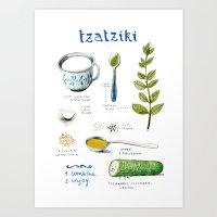 Illustrated Recipes: Tza… Art Print
