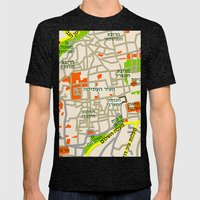 Jerusalem Map Design Mens Fitted Tee Tri-Black SMALL