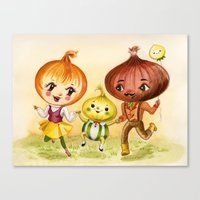 Kitschy Cute Onion Family Canvas Print
