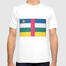 Flag of Central African Republic. The slit in the paper with shadows. White SMALL Mens Fitted Tee
