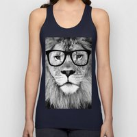 Hippest Lion with glasses - Black and white photograph Unisex Tank Top