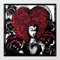 Queen of Hearts with Painted Roses Canvas Print