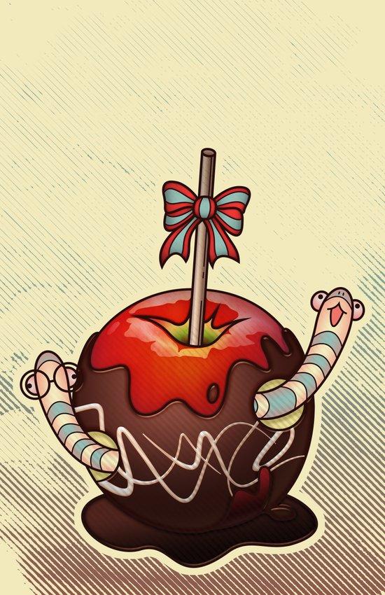SWEET WORMS 2 - caramel apple Art Print