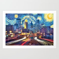 Minneapolis Starry Night Version 1 Art Print