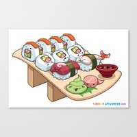 Kawaii California Roll and Sushi Shrimp and Tuna Nigiri Canvas Print