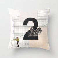 Throw Pillow featuring 2 - Horse and strings by Fitacola