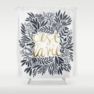 C'est La Vie – Grey & … Shower Curtain