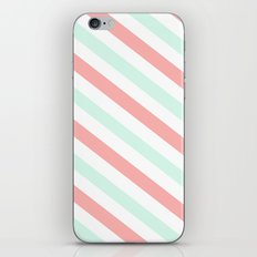 Mint and Coral Diagonal Stripes iPhone & iPod Skin