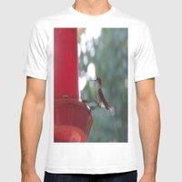 Hummingbird W/ Bokeh Mens Fitted Tee White SMALL