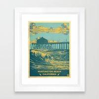 Vintage Huntington Beach… Framed Art Print