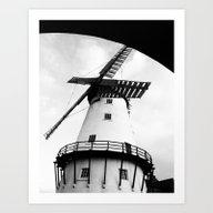 B&W Windmill Art Print