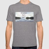 Adventure Starts Now! Mens Fitted Tee Tri-Grey SMALL