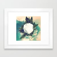 Tiny Snowy Forest Planet Framed Art Print