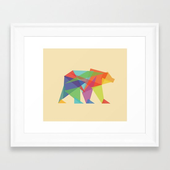 Fractal Geometric bear Framed Art Print