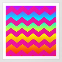 Rainbow Zig - Zag Art Print