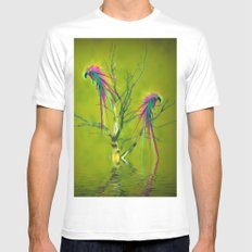Fantasy Parrots White Mens Fitted Tee SMALL