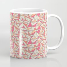 triangles color block in coral pink and orange Mug