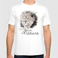 Lion (BornInNature) Mens Fitted Tee White SMALL