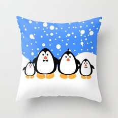 NGWINI - penguin family v3 Throw Pillow