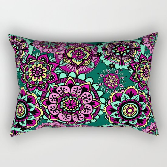 mandala pattern pink green yellow rectangular bed pillow