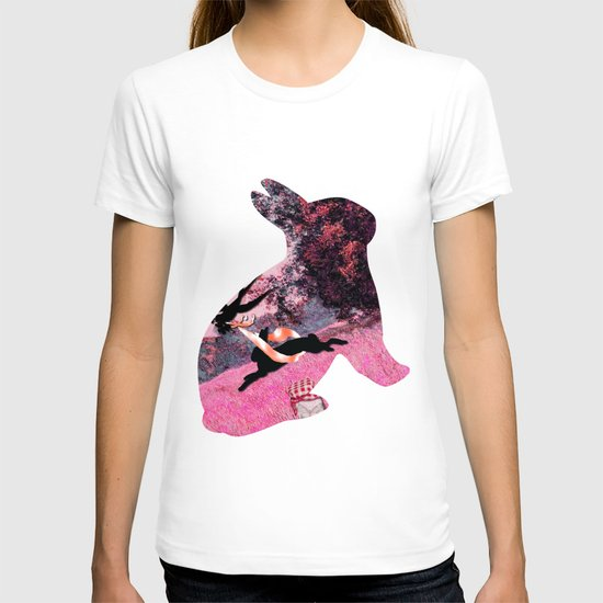 Pink Whimsical cute rabbit, bird vector on field collage T-shirt